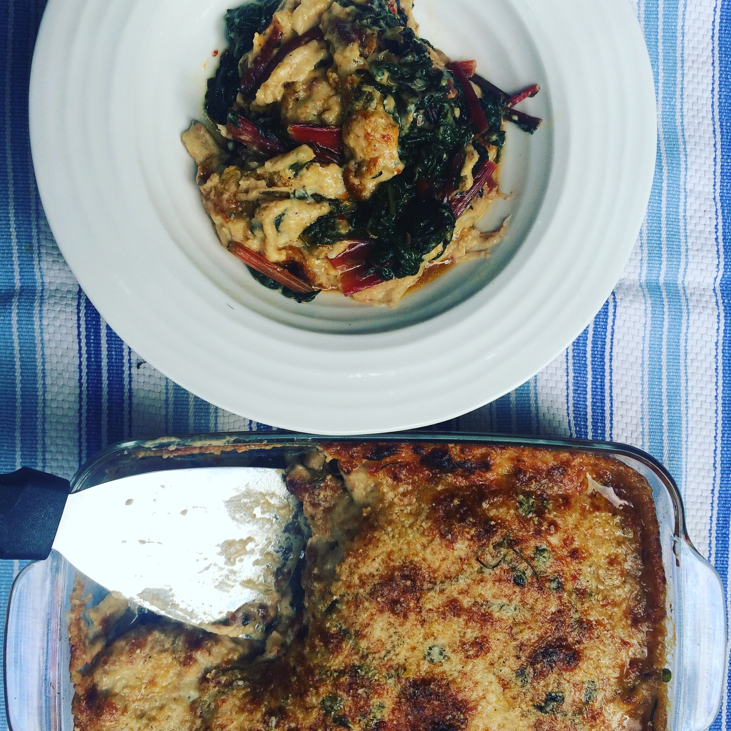 Chard with Parmesan gratin top, spelt bechamel, anchovies, marjoram and garlic